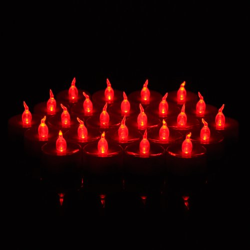 WEANAS 24pcs LED Tea Lights Unscented Flameless Candles Flickering Bulb with Timer Replaceable Battery for Seasonal Festival Celebration Christmas Birthday Wedding Party (Red) (Tea Lights Red)