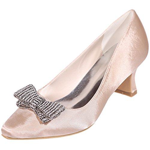Loslandifen Femmes Pionted Toe Satin Strass Bow Kitten Talons Chaussures De Mariage Champagne