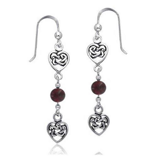 (Heart Shape Celtic Irish Love Knot Work Red Garnet Bead Stone Fish Hook Dangle Earrings 925 Sterling Silver)