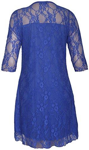 Camiseta de manga corta de encaje con diseño de flores, para mujer, tallas grandes Royal Blue-Long