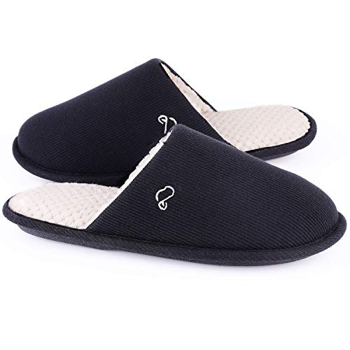 Women's Cotton Knit Memory Foam Slippers Light Weight House Shoes with Anti-Skid Sole (5-6 M US, Black)