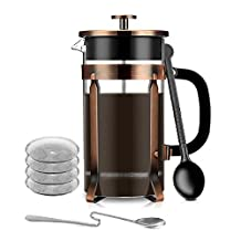 French Press, Extra 4 Filters and 2 Spoons (Measuring & Mixing Spoon) 1Liter 34 Oz/8 Cups No Grounds Coffee Tea Maker for Home Office Camping