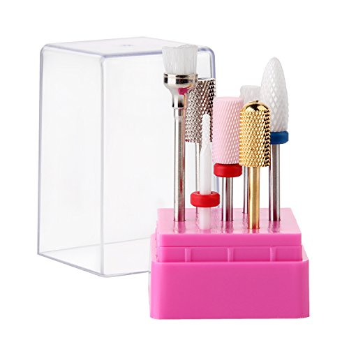 MAKARTT A-06 Cuticle Nail Drill Bits Set 7PCS Acrylic Ceramic Carbide Nail File Bit Manicure Pedicure 3/32