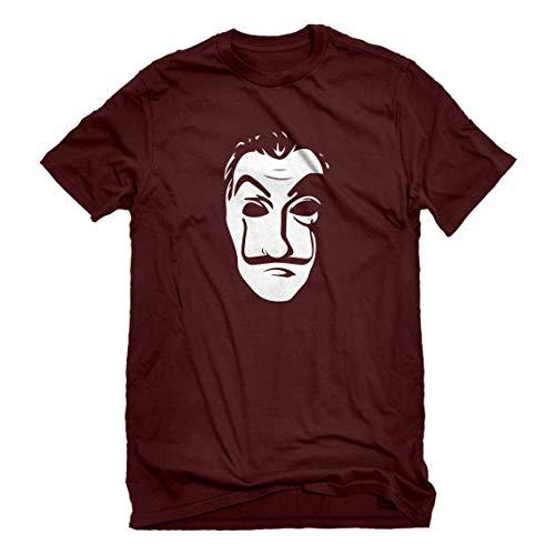 - Mens Salvador Dali Face Heist Mask Medium Maroon T-Shirt
