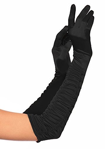 Deceny CB Party Gloves for Women Long Satin Opera Gloves Shirred Elbow Gloves (Plus Size, Black) (Make A Wish Costumes)