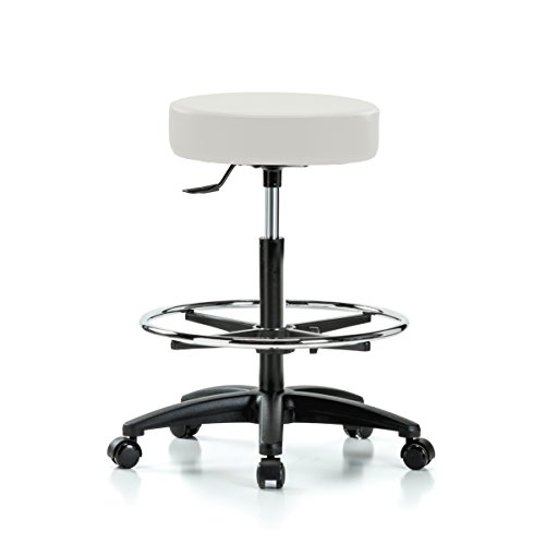 (Perch Rolling Single Lever Height Adjustable Swivel Stool with Foot Ring for Carpet or Linoleum, Counter Height, Adobe White Vinyl)