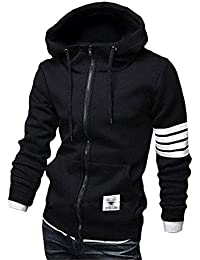 Men's Casual Striped Drawstring Hooded and Zipper Closure Hoodies