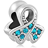 European Charm Bead Awareness Ribbon Turquoise Blue Pugster Charms Fits Pandora (PTSD, Ovarian Cancer, Anti Bully)