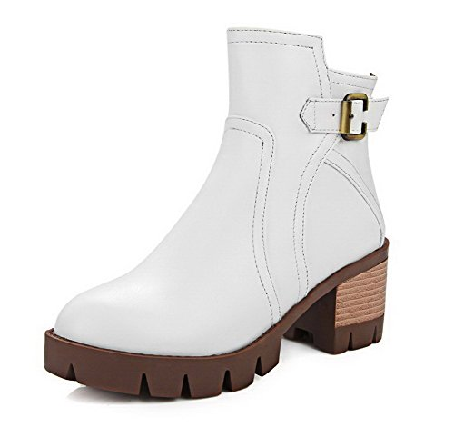 PU Zipper White Round Kitten Women's AgooLar Boots Solid Closed Heels Toe qxS4PRwBWT