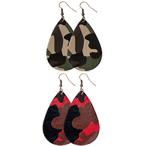 2 PAIRS Fashion Camouflage Dangle Leather Earrings For Women Girls -