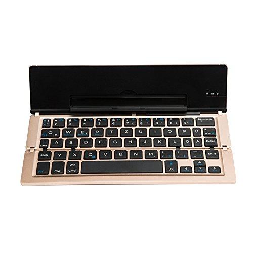 Faltbar Bluetooth Tastatur, iEGrow F18 Universal Tragbar Bluetooth 3.0 Kabellose Tastatur mit Ständerhalter für Apple iPad iPhone 7 Plus IOS, Andriod Windows Smartphone Tabletten [QWERTZ deutsches Tastaturlayout]