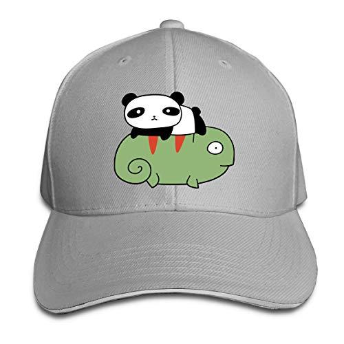 Adult Little Panda and Chameleon Cotton Lightweight Adjustable Peaked Baseball Cap Sandwich Hat Men Women