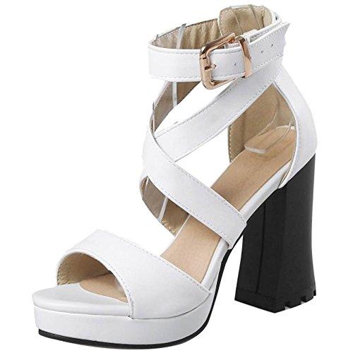 Razamaza Scarpe Sandali White Moda Tacco Altos Donna Piattaforma q1Axp