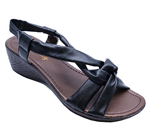 Ladies Black Open-Toe T-Bar Wedge Comfy Summer Strappy Sandals Shoes Sizes 3-8 cXqdT