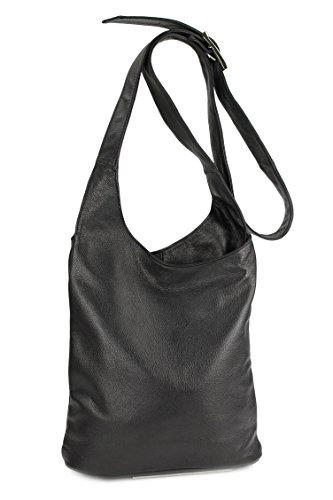 Belli - Bolso de hombro de cuero mujer marrón - negro