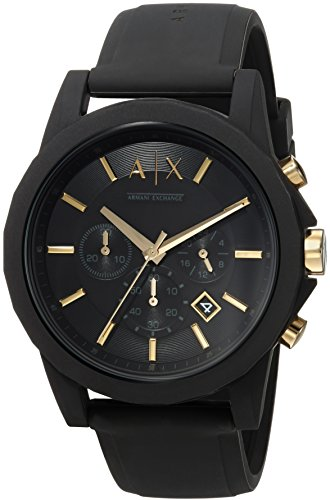 Armani Exchange Men's  Black Silicone Watch and Luggage Tag Gift Set ()