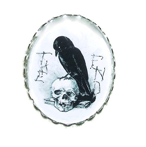 CROW SKULL BROOCH PIN Silver Pltd with GLASS Dome STORY END