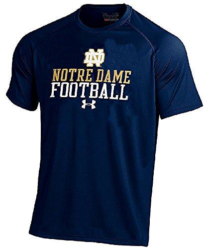 (Under Armour Notre Dame Fighting Irish Navy Linebacker Short Sleeve HeatGear T Shirt (L=44))
