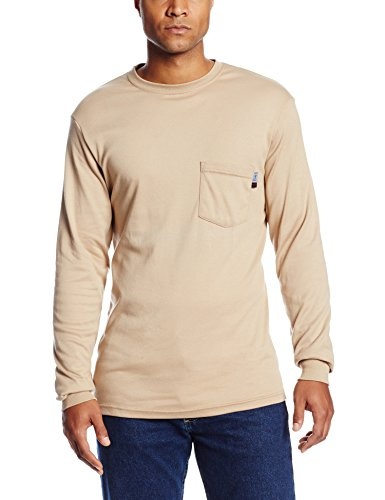 National Safety Apparel C54PALSLG Flame Resistant Classic Cotton Long Sleeve T-Shirt, Large, Khaki