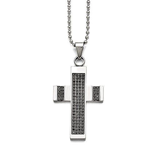Stainless Steel Polished 1/2ct tw. Diamond Cross Necklace Chain 24