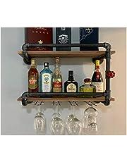 RUYEE 2-Tiers Industrial Wine Racks Wall Mounted with 4 Stem Glass Holder, 24in Wall Mount Shelf Rack Bottle Holder, Black Rustic Metal Hanging Wine Holder, Pipe Shelves for Living Room Kitchen