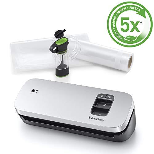 FoodSaver VS1190X – Envasadora al vacío de alimentos compacta con accesorio sellador manual, 1rollo pequeño y 5bolsas pequeñas, color plata con detalles negros