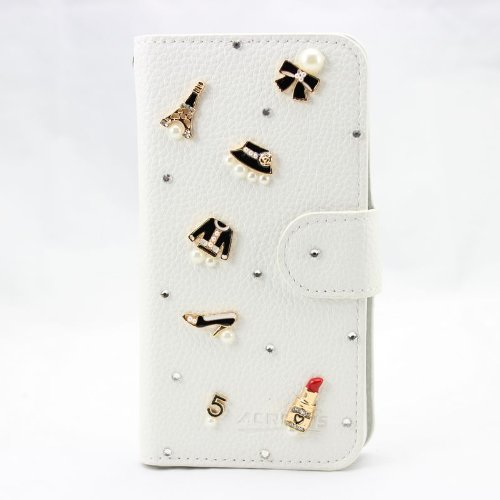 piaopiao bling 3D white leather wallet card flip diamond case cover for Samsung Galaxy Win GT-i8552 i8550 (7p muti-items)