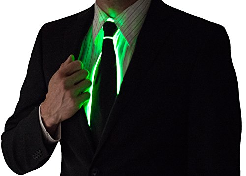 [Neon Nightlife Light Up Neck Tie for Men, Green] (Neon Outfits)