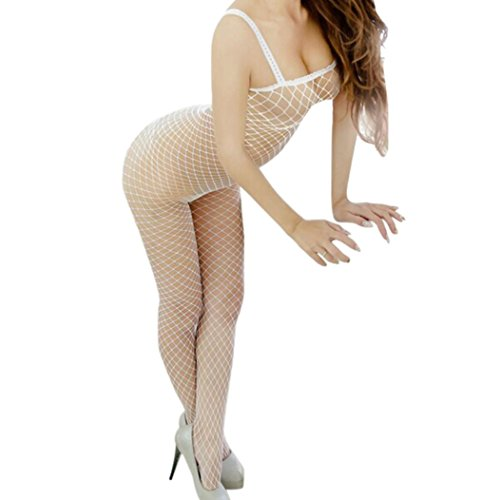 Laimeng_world Women's Sexy Open Crotch Fishnet Bodystocking Sheer Lingerie Bodysuit One Size (White)