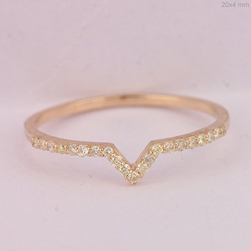 Mother's Day Gift Natural 0.12 Ct Pave Diamond Chevron Design Ring Solid 14k Rose Gold Handmade Jewelry (Ct Natural 0.12)