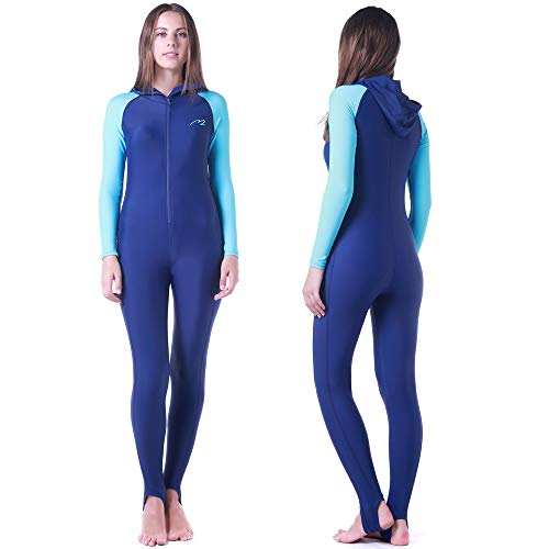 Wetsuit Full Suits for Women or Mens Modest Full Body Diving Suit & Breathable Sports Skins for Running Snorkeling Swimming (016-girl-blue, S)