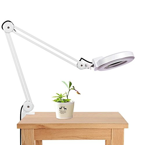 Meharbour 8X Desk Magnifier Lamp, Adjustable Swivel and Swing Arm Magnifier Desk Table Lamp Light with Glass Lens and Bench Clamp, 110V US Plug (US STOCK) - Adjustable Desk Arms
