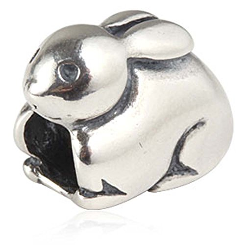 (Lucky Bunny Rabbit Charm 925 Sterling Silver Animal Pet Charm Easter Charm for DIY Charms Bracelet)