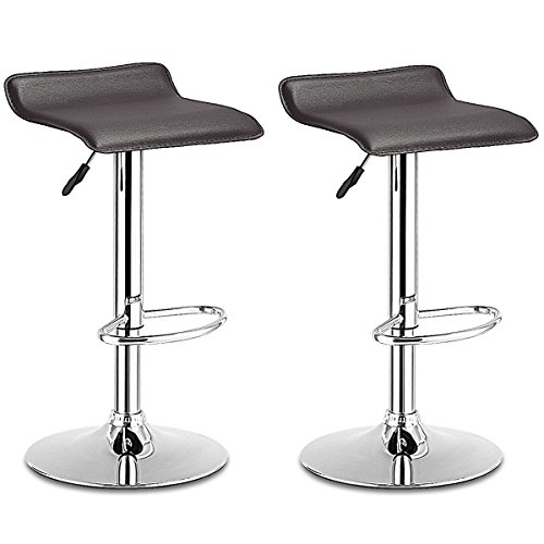 COSTWAY Swivel Bar Stools Adjustable Contemporary Modern Design Chrome Hydraulic PU Leather Backless Dining Chairs Set of 2(Brown) ()