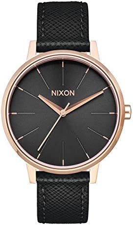 NIXON Kensington Leather A108 – Rose Gold Black – 50m Water Resistant Women s Analog Classic Watch 37mm Watch Face, 16mm Leather Band