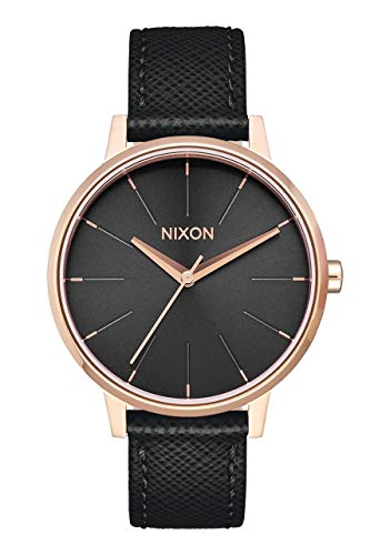 Nixon Kensington Leather Rose Gold/Black Casual Designer Women's Watch (37mm. Rose Gold & Black Face/Black Leather Band)