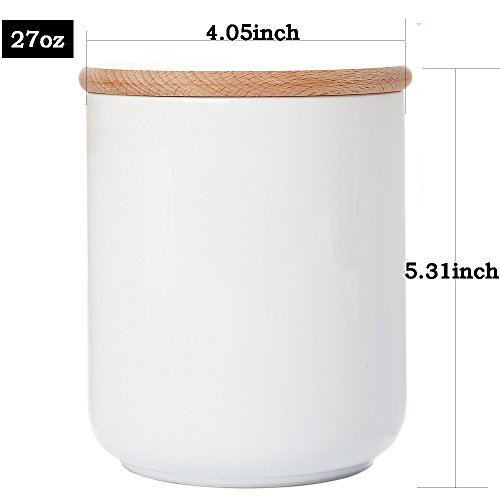 KKC Home Accents White Ceramic Canister Jar Container For Food Storage with Wood Lid Kitchen Canister,Sugar Container Salt and Pepper Jar Coffee Tea Jar Flower Nuts Container,27 oz,1 piece