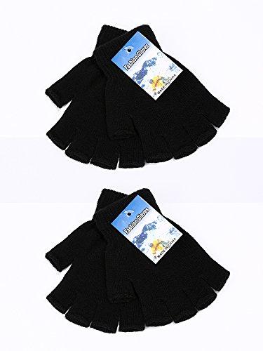 Alpaca Fingerless Wool Gloves - Satinior 2 Pair Unisex Half Finger Gloves Winter Stretchy Knit Fingerless Gloves in Common Size (Black)