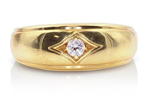 Mens 18kt Yellow Gold Diamond Wedding Band with A 0.15 Carat Center Round Brilliant Cut (Round Brilliant Bead Set Band)