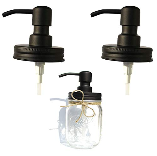 (The Southern Jarring Co. Black Stainless Steel Mason Jar Liquid Soap Dispenser Lids (2) - Rustproof - Modern Farmhouse Soap Pumps for Kitchen and Bathroom)