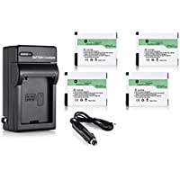 Powerextra 4 Pack High Capacity 1400mAh Replacement Battery With Charger for GoPro HD HERO2, GoPro Original HD HERO (2010 model) and GoPro AHDBT-001, AHDBT-002 (Free Car Charger Available)