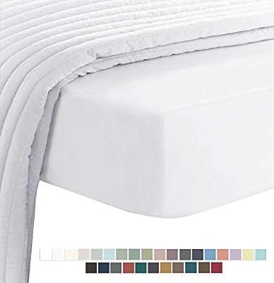 400 Hilos Sabana Bajera Ajustable 200x200 cm Blanco, 100% Fibra ...