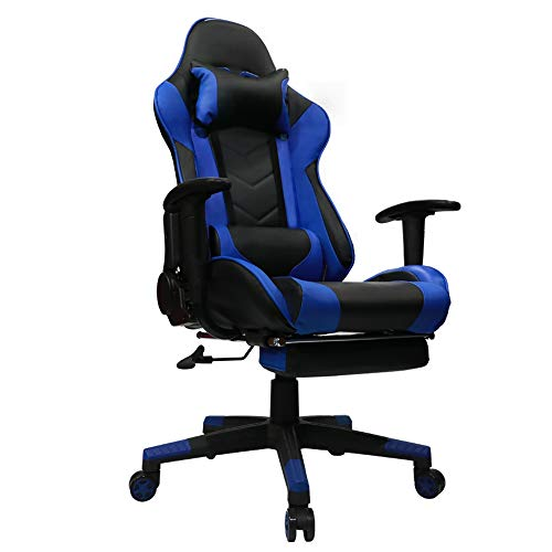 Kinsal Gaming Chair with Footrest Racing Style High-Back PU Leather Office Chair Computer Desk Chair Executive and Ergonomic Style Swivel Chair with Headrest and Massage Lumbar Support (Blue) Kinsal