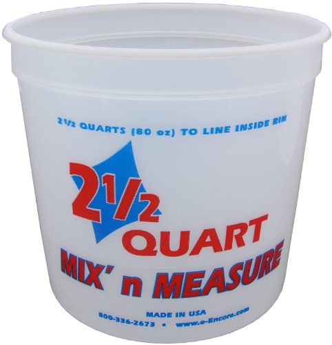 Encore Plastics 61086 Mix 'N Measure Plastic Container, 2.5-Quart