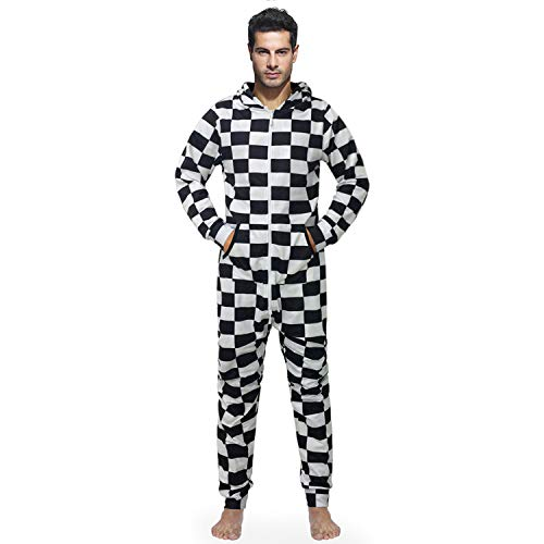 ELEFINE Men's One Piece Pajamas Fashion Printed Hooded Playsuit Non Footed Jumpsuit Black&White F1 Racing Flag L ()