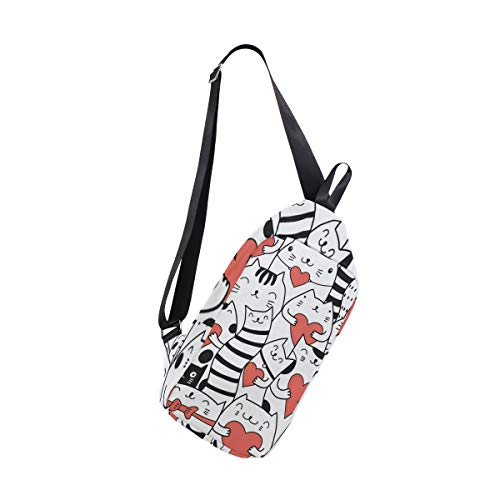 257cbbb3d Sling Bag Cats With Hearts Kitty Kitten Womens Chest Shoulder Backpacks  Crossbody Tactical Bag Pack