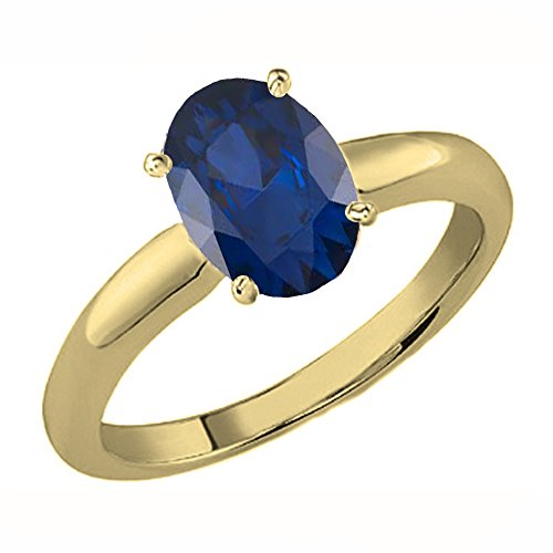DazzlingRock Collection 14K Gold 8X6 MM Oval Cut Blue Sapphire Ladies Solitaire Bridal Engagement Ring