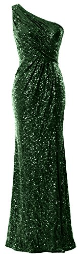 Women Mermaid Green Macloth Formal Shoulder Evening Sequin Gown Long One Dark Prom Dress Sq6q0dB