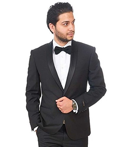 Slim Fit 1 Button Shawl Lapel Collar Tuxedo Jacket Modern Dinner Blazer AZAR (36 Short, Black (1 Button Shawl)