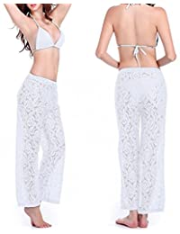 Amstt Womens Sexy Lace Straight Casual Loose Trousers Breathable Bikini Beach Pants
